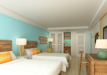 A rendering of a guest room at Margaritaville Grand Cayman Beach Resort on Seven Mile Beach.
