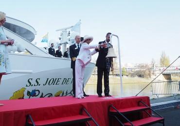 Dame Joan Collins christened Uniworld's new Seine River vessel, the S.S. Joie de Vivre, in Paris on Monday.