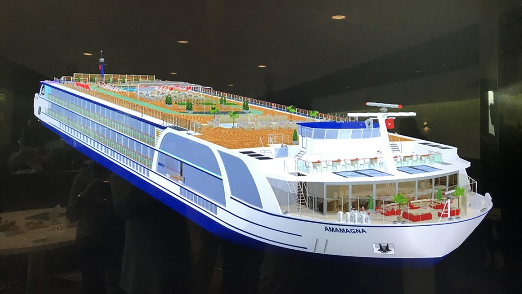 Model of the AmaMagna, a river cruse ship that AmaWaterways says will be Europe's largest