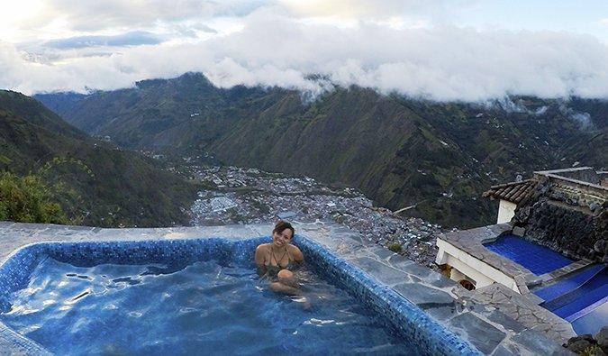 Heather lounging in a pool in Ecuador