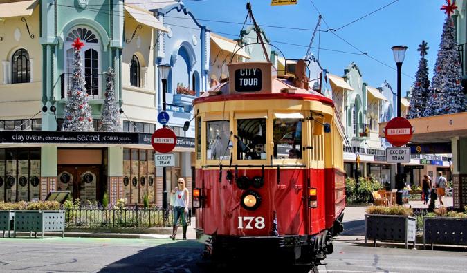 a streetcar in Christchurch