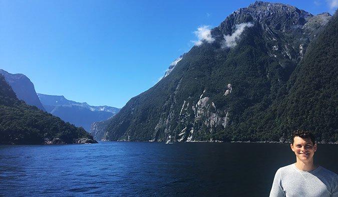 Matt on a cruise through Milford Sound