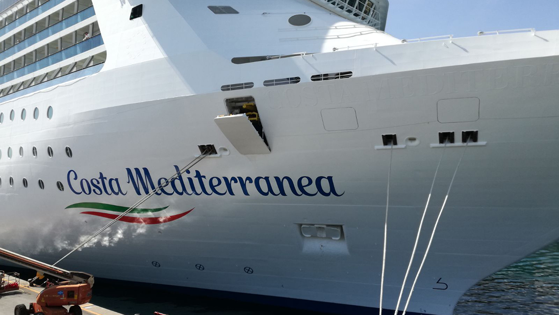The Costa Mediterranean was the first ship in the fleet to get the new livery, which will be fleet wide by the end of the year.