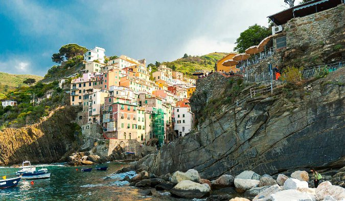 Beautiful view of the Western European homes in Cinque Terre, Italy=