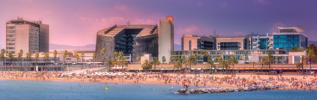 Barceloneta Beach in Barcelona at purple sunset